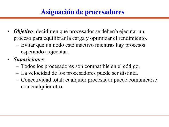 Asignación de procesadores