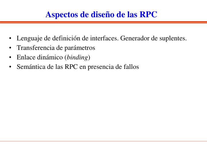 Aspectos de diseño de las RPC
