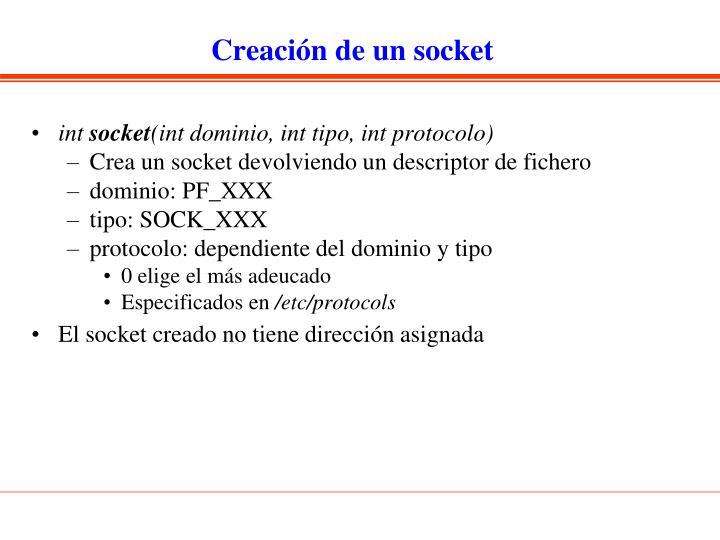 Creación de un socket