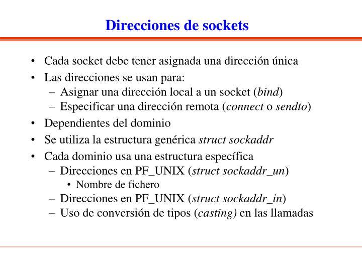 Direcciones de sockets