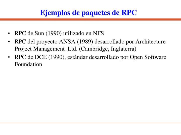 Ejemplos de paquetes de RPC