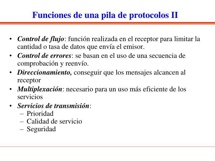 Funciones de una pila de protocolos II