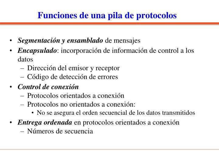 Funciones de una pila de protocolos