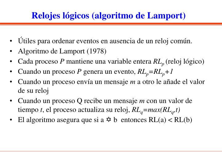 Relojes lógicos (algoritmo de Lamport)