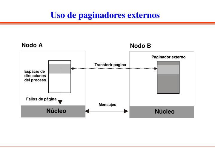 Uso de paginadores externos