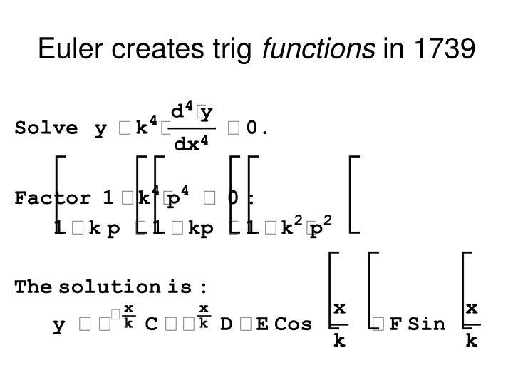 Euler creates trig