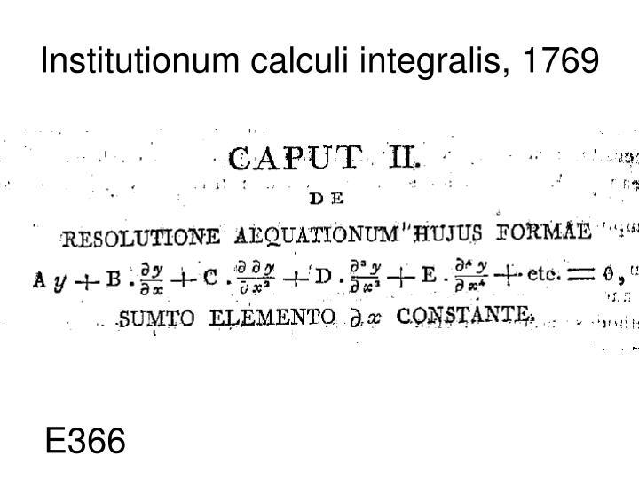 Institutionum calculi integralis, 1769