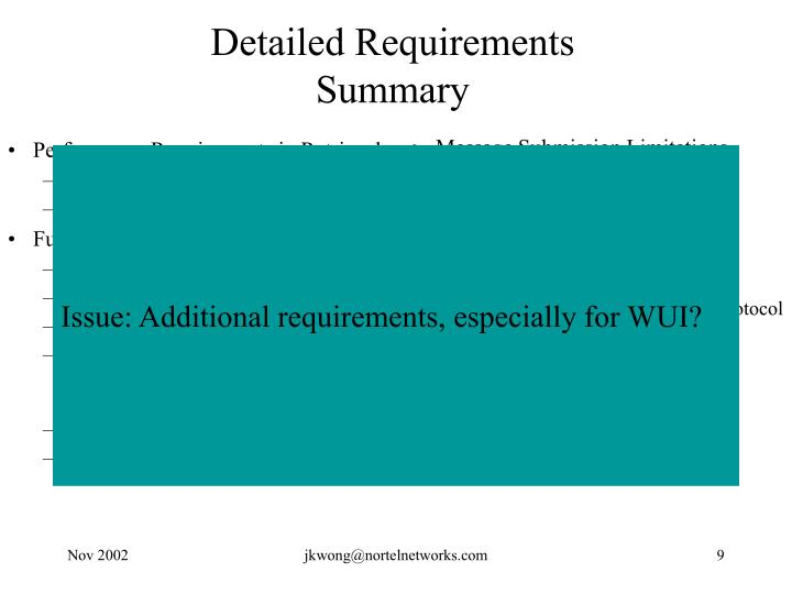 Detailed Requirements Summary