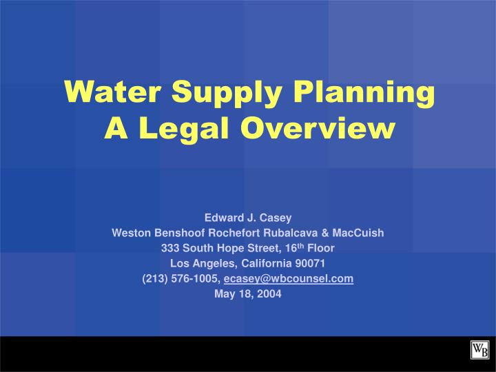 water supply planning a legal overview n.