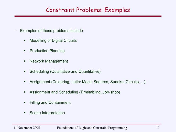 Constraint problems examples
