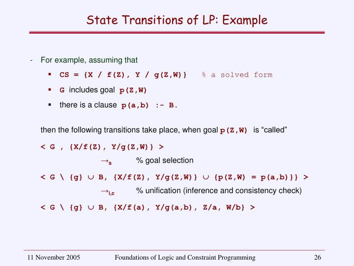 State Transitions of LP: Example