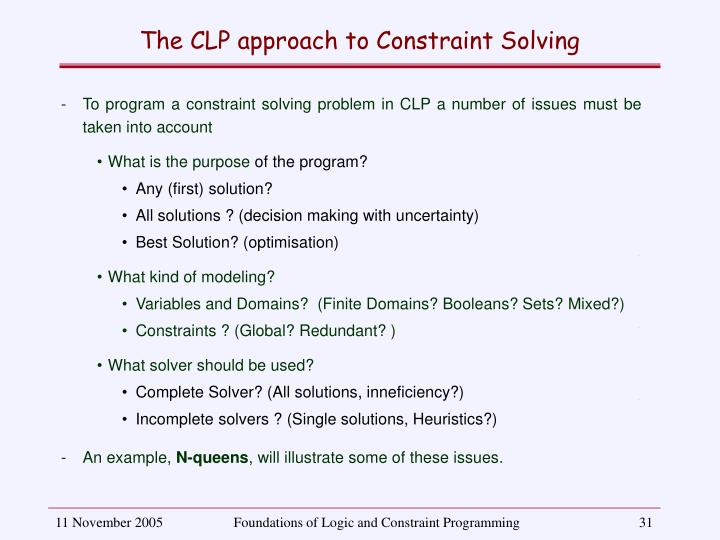The CLP approach to Constraint Solving
