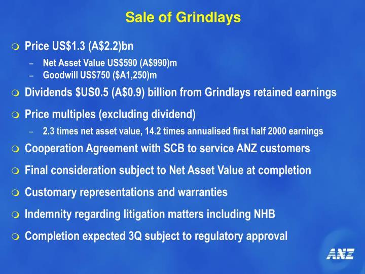 Sale of Grindlays