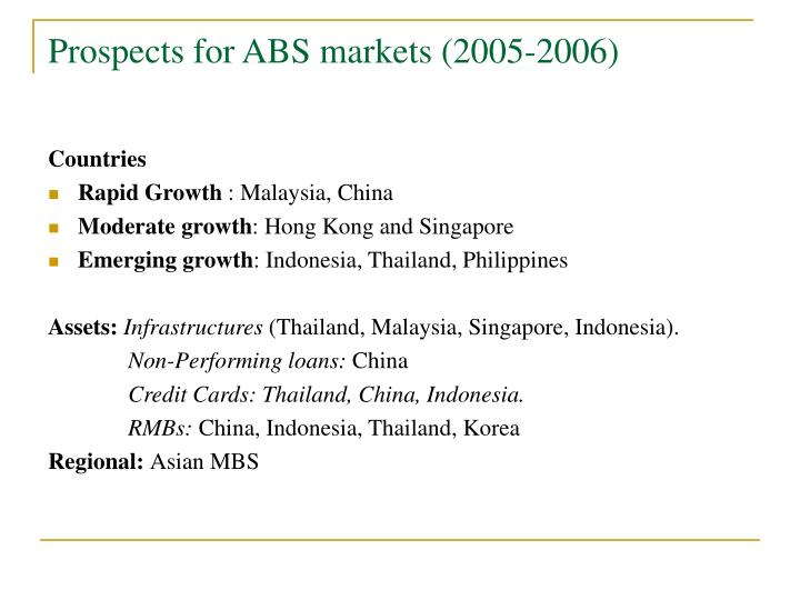 Prospects for ABS markets (2005-2006)