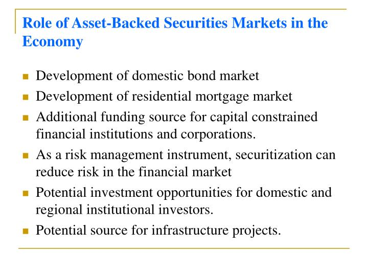 Role of Asset-Backed Securities Markets in the Economy