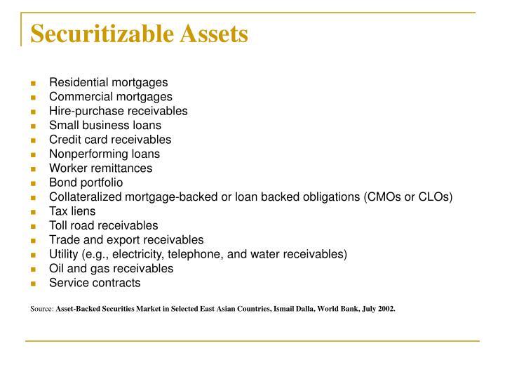 Securitizable Assets