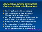 heuristics for building communities that need to share data programs