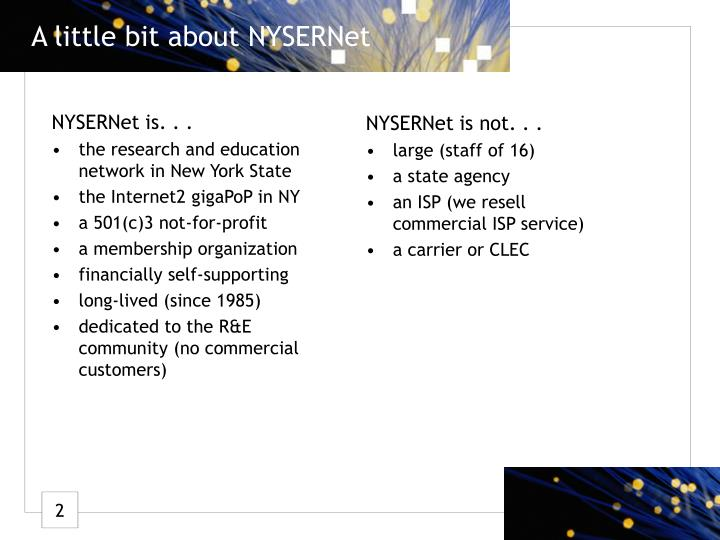 A little bit about NYSERNet