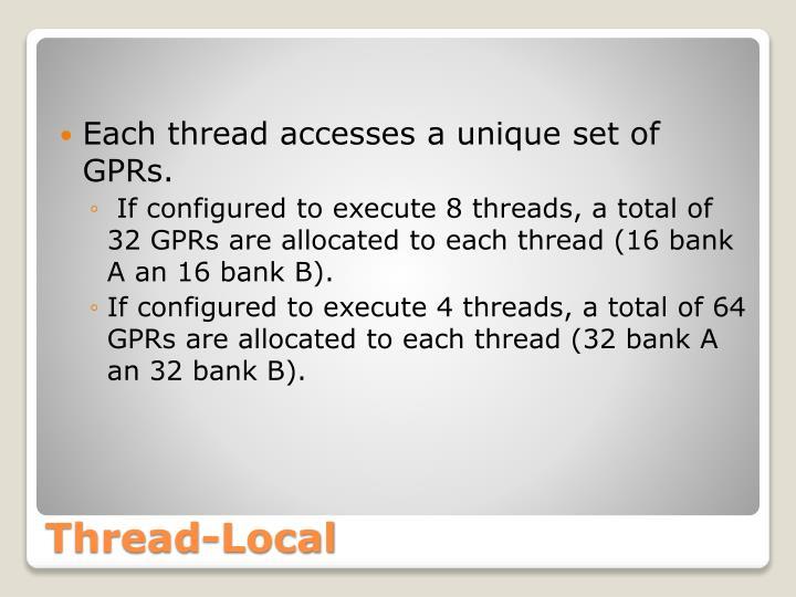 Each thread accesses a unique set of GPRs.