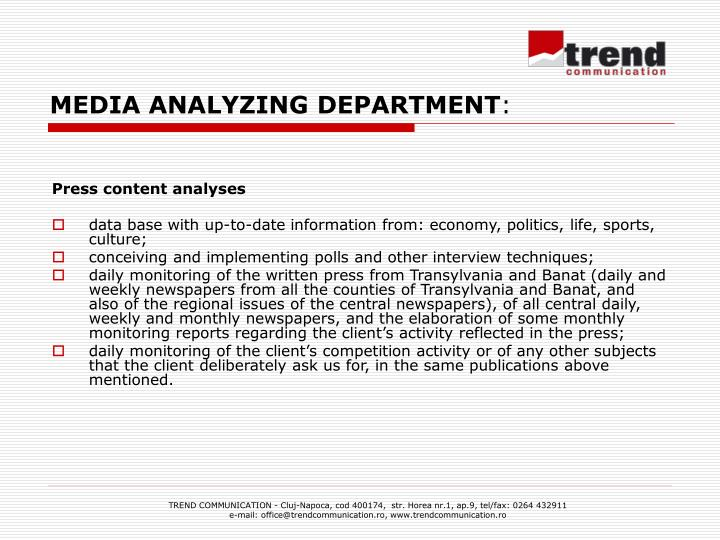 MEDIA ANALYZING DEPARTMENT