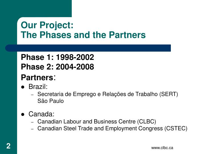 Our project the phases and the partners