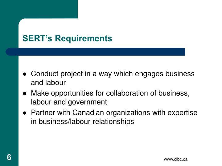 SERT's Requirements
