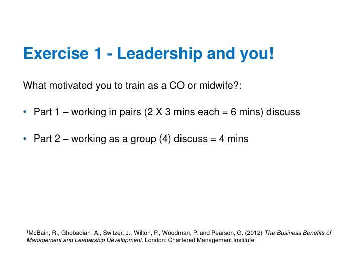 Exercise 1 - Leadership and you!