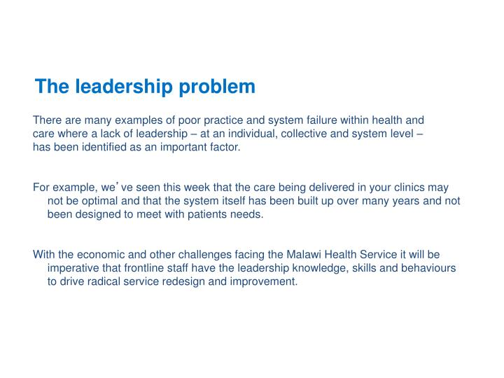 The leadership problem