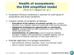 health of ecosystems the eds simplified model from d j rapport et al