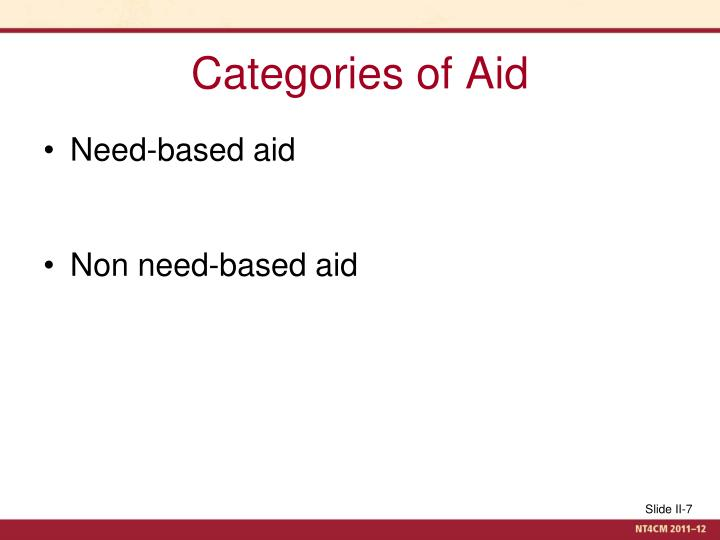 Categories of Aid