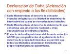 declaraci n de doha aclaraci n con respecto a las flexibilidades