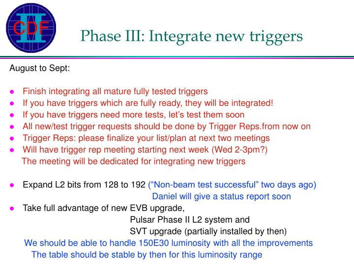 Phase III: Integrate new triggers