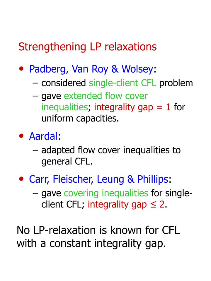 Strengthening LP relaxations