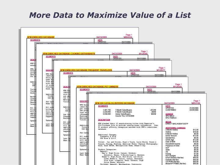 More Data to Maximize Value of a List