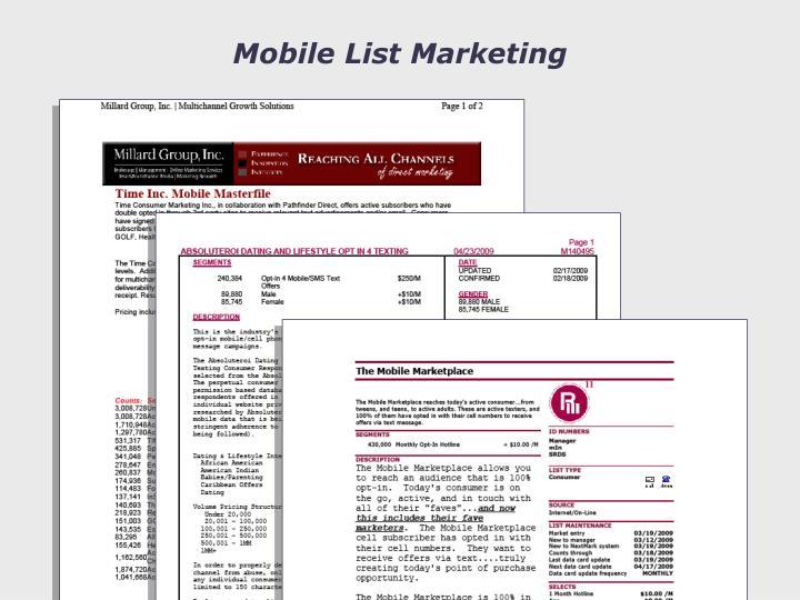 Mobile List Marketing