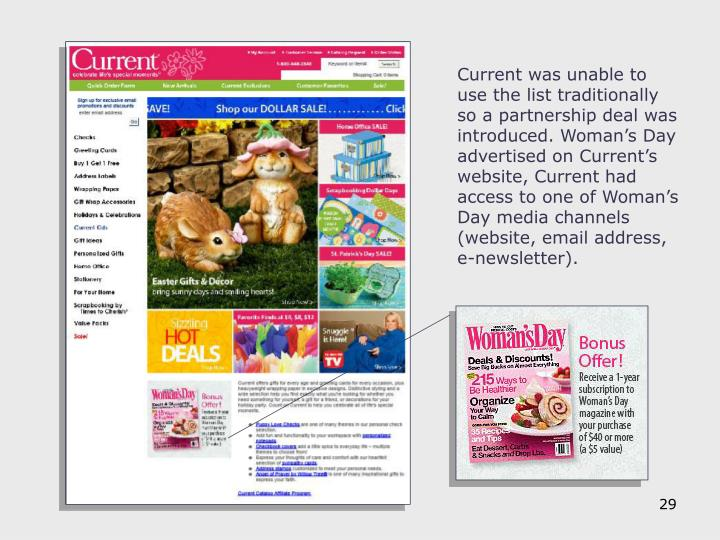 Current was unable to use the list traditionally so a partnership deal was introduced. Woman's Day advertised on Current's website, Current had access to one of Woman's Day media channels (website, email address, e-newsletter).