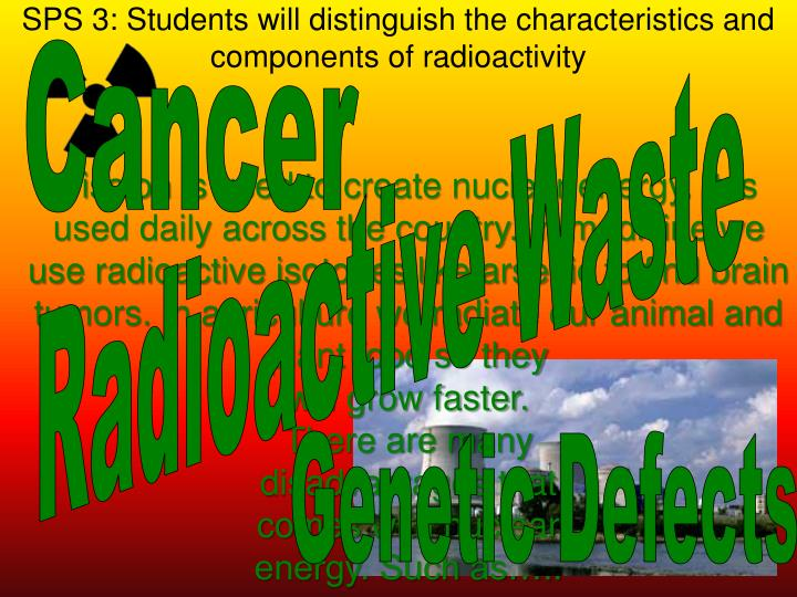 SPS 3: Students will distinguish the characteristics and components of radioactivity