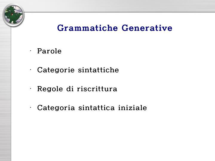 Grammatiche Generative