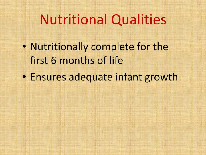 Nutritional Qualities
