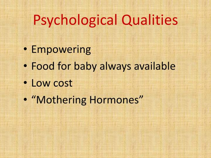 Psychological Qualities