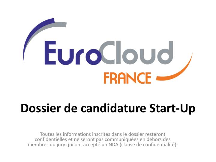 dossier de candidature start up n.