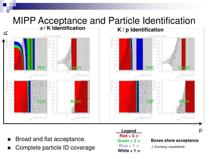 MIPP Acceptance and Particle Identification