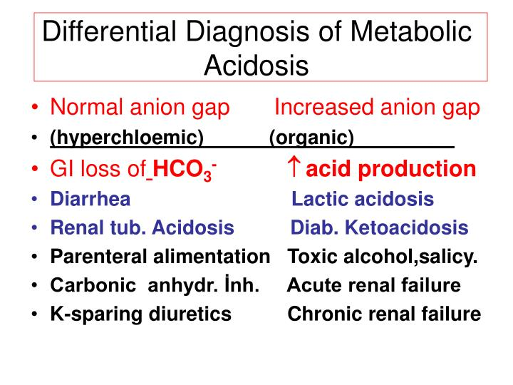 Differential Diagnosis of Metabolic Acidosis