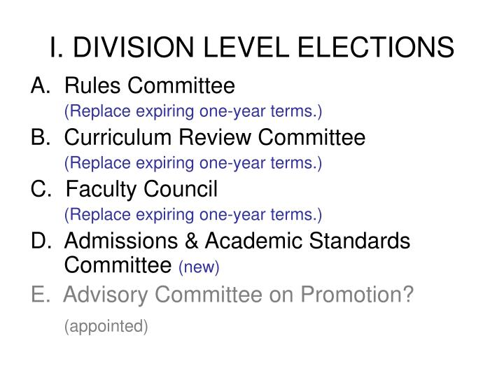 I division level elections