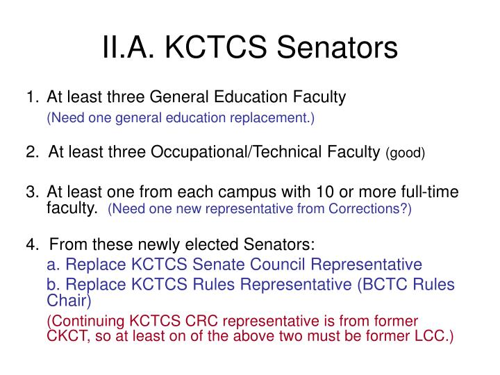 II.A. KCTCS Senators