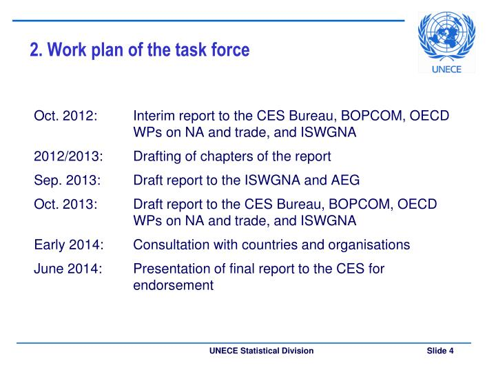 2. Work plan of the task force