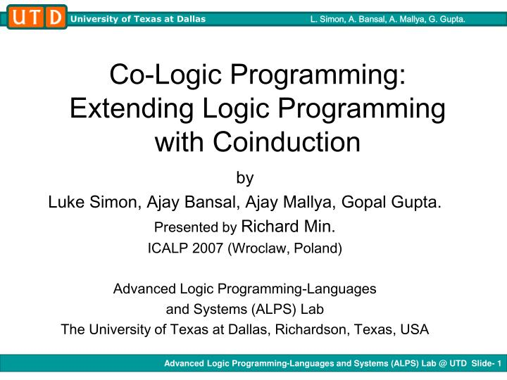 co logic programming extending logic programming with coinduction n.