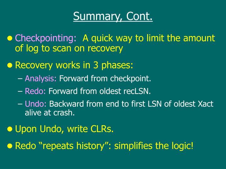 Summary, Cont.