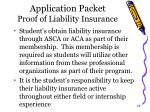 application packet proof of liability insurance