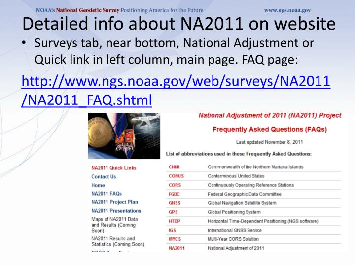 Detailed info about NA2011 on website